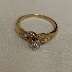 Gold plated created diamond ring